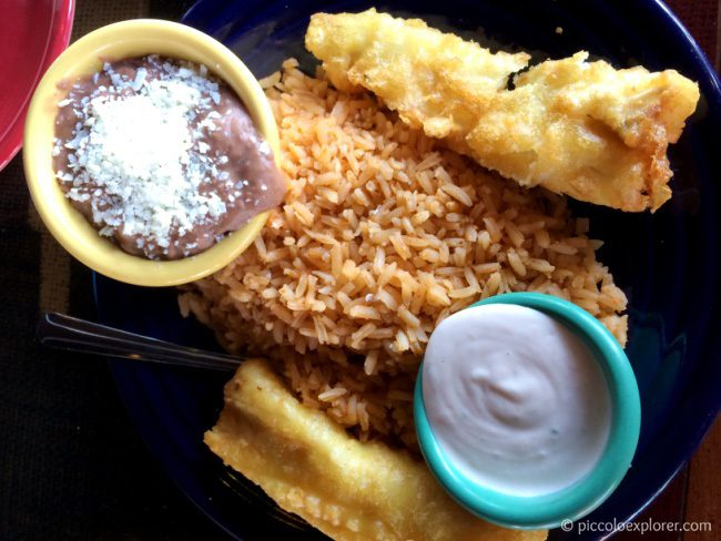 Kid's Menu Baja-Style Fish Goujon with Rice and Beans