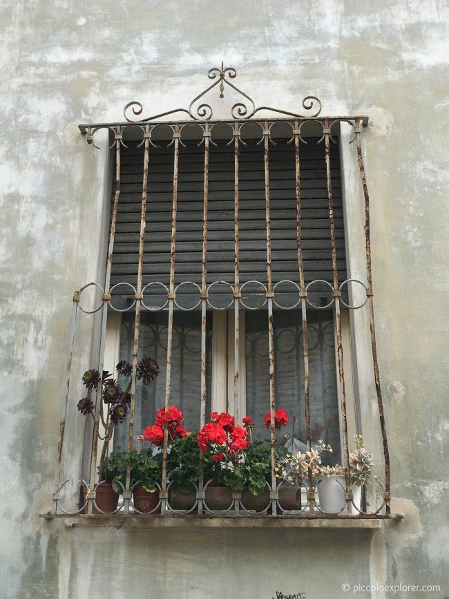 Window in Fano's city center Italy
