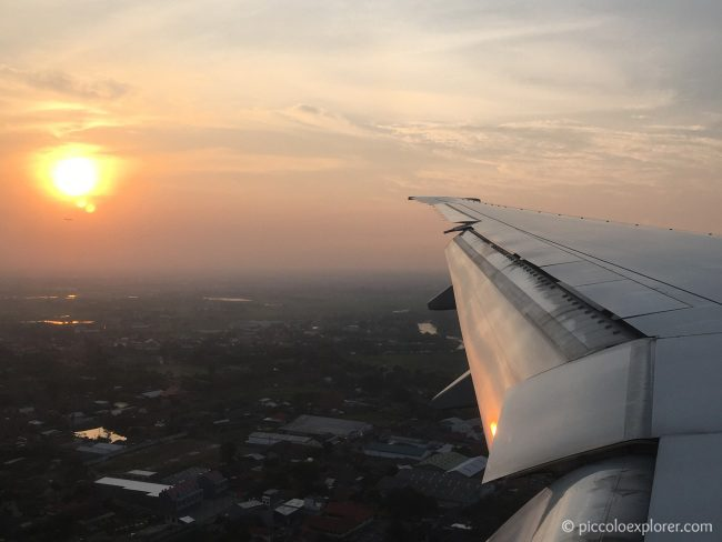Flying over Jakarta at Sunset