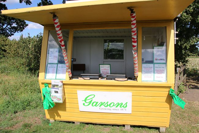Kiosk at Garsons Pick Your Own Farm